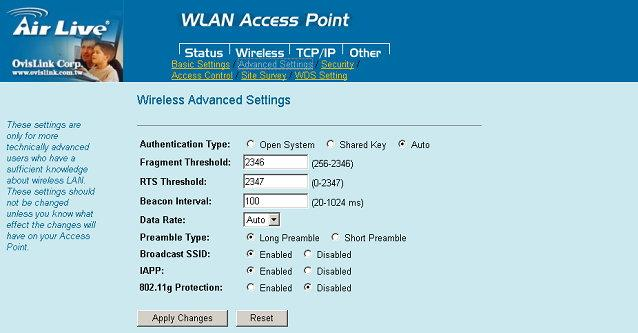 Advanced Settings It is not recommended that settings in this page to be changed unless advanced users want to change to meet their wireless environment for optimal performance Authentication Type To