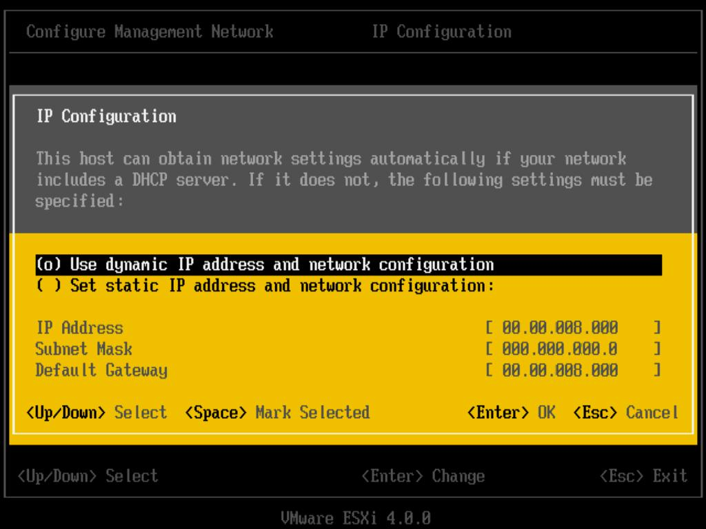 3 Select Set static IP address and network configuration. 4 Enter a the IP address, subnet mask, and default gateway and press Enter.