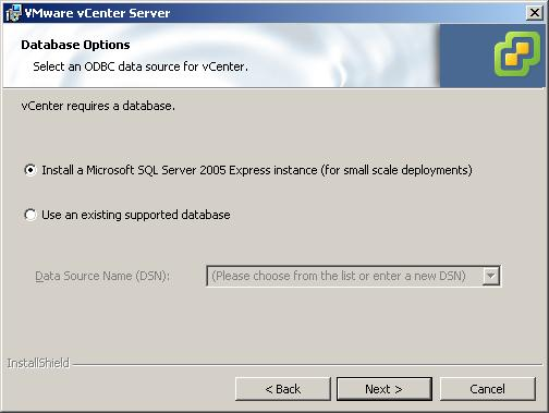 7 Click Install SQL Server 2005 Express instance (for small-scale deployments).
