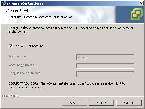 8 Enter the administrator name and password that you use when you log in to the system on which you are installing