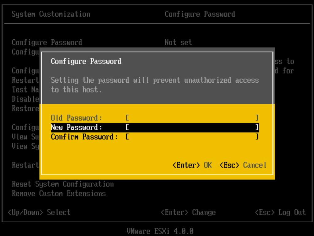 Setting Up ESXi Setting up ESXi involves configuring the Administrative (root) password for the ESXi host and configuring the default networking behavior.