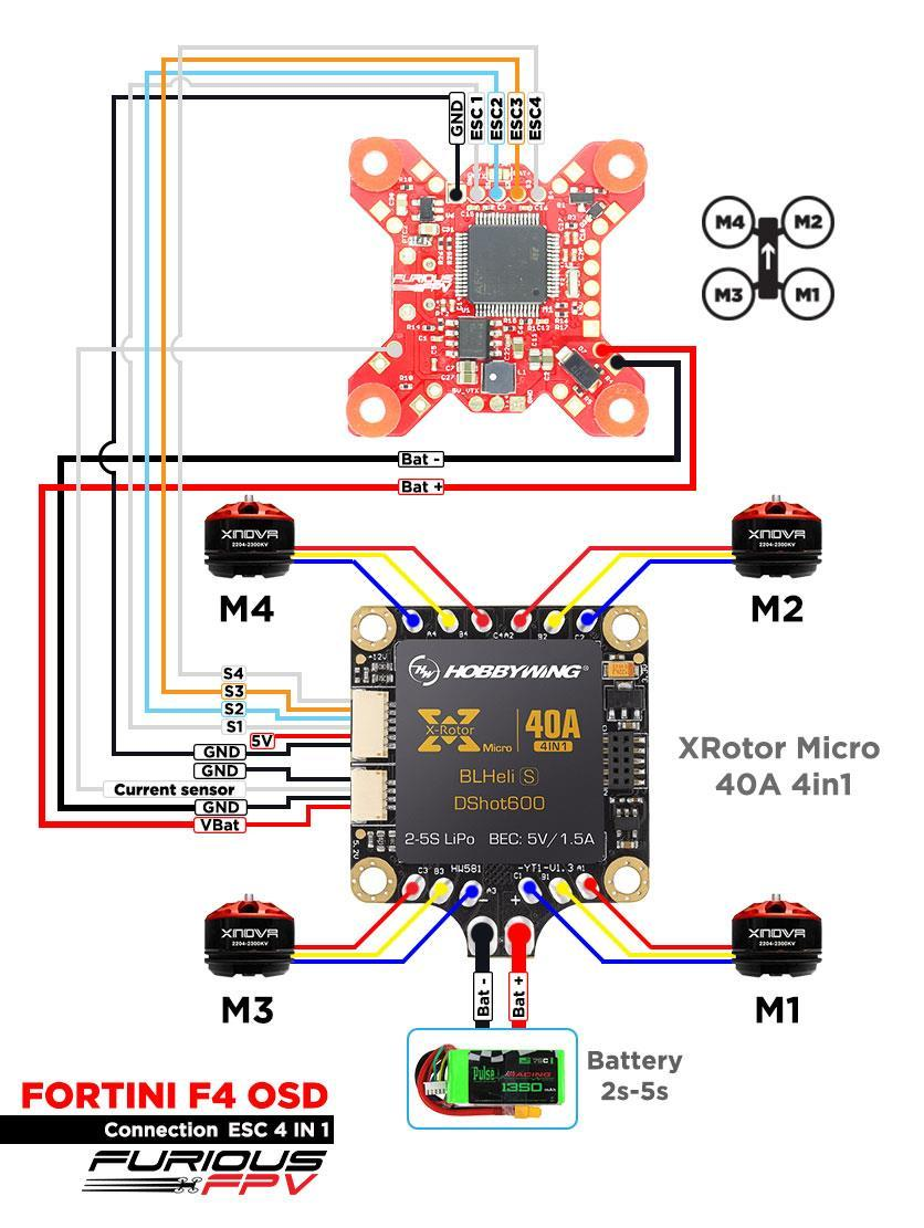 Fortini F4 Osd Flight Controller User Manual Version Pdf Multiwii Wiring Diagram 26 Using Hobbywing Xrotor Micro 40a 4in1 Note Can