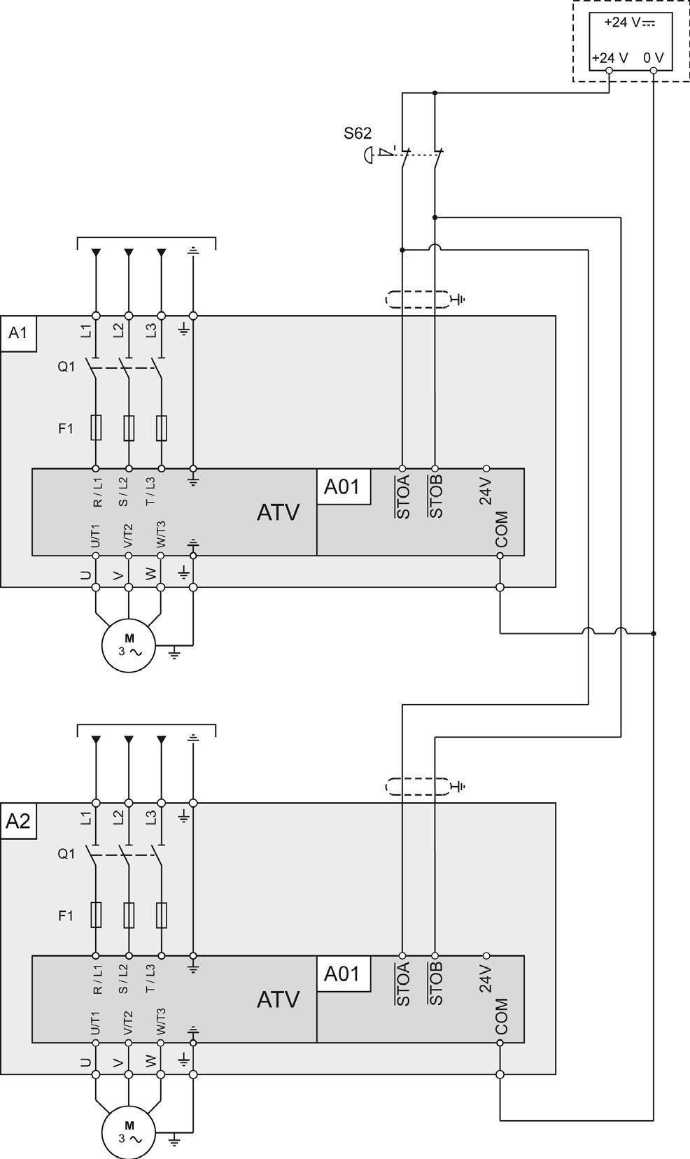 Altivar Process Variable Speed Drives Atv630 Atv650 Atv660 Atv680 Sd Control Wiring Diagram Multi Drive Systems Connection This Applies For Multidrive