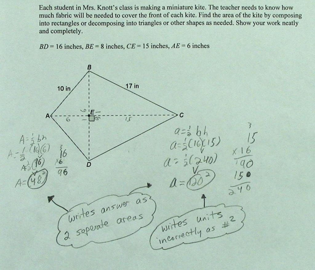 Area of Kite Students are asked to find the area of a kite by ...