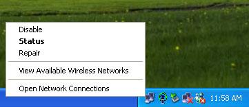 5 Wireless Network Configuration There are two different utilities to configure you wireless setting on XP, although we provide another choice, but in functional, both of them are similar.