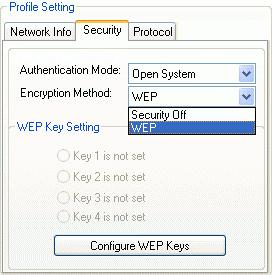 Fig 5.2-4 If you want to enable the encryption function, please set the encryption to WEP.