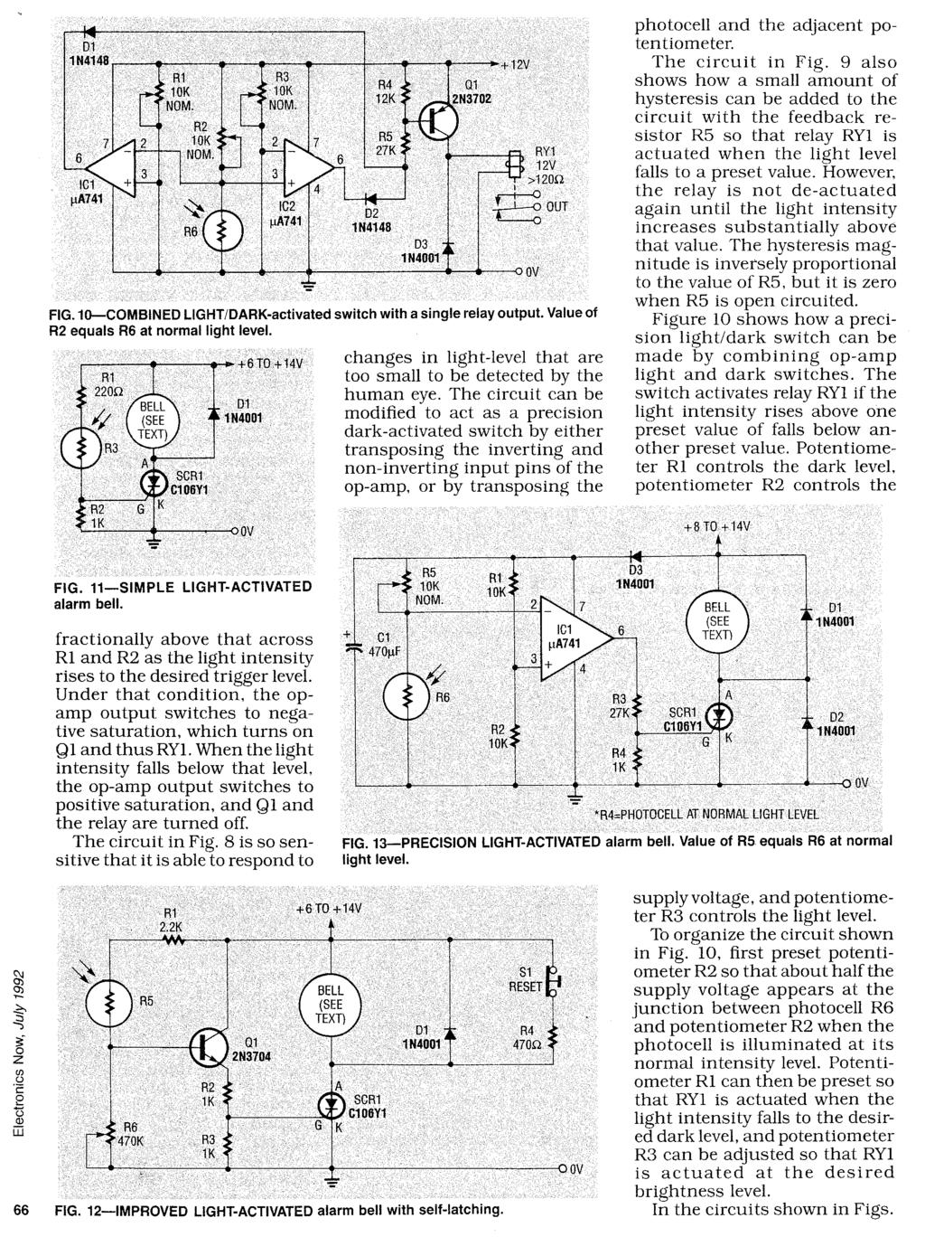 Photosensitive Devices Pdf Photocells Amplifiers Circuit Schematic Diagram Fig 12 Improved Light Activated Alarm Bell With Self Latching Supply