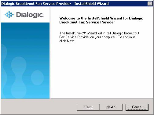Installing the Brooktrout FSP Software Before installing your Fax Service Provider (FSP) software, log onto your system with full administrative privileges.