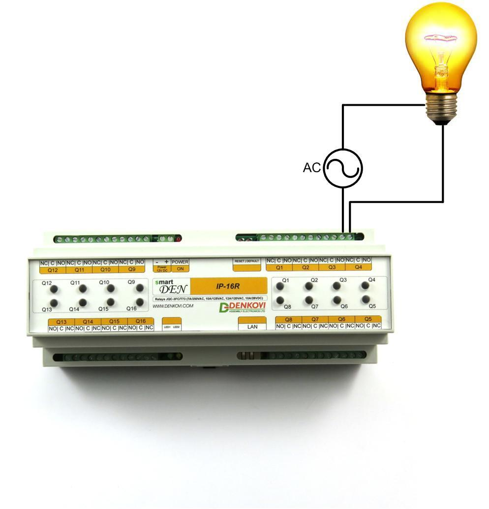 Smartden Ip 16r Web Enabled 16 Relay Module Pdf With No And Nc Contacts Connection User Manual Figure 5 Connecting A Lamp