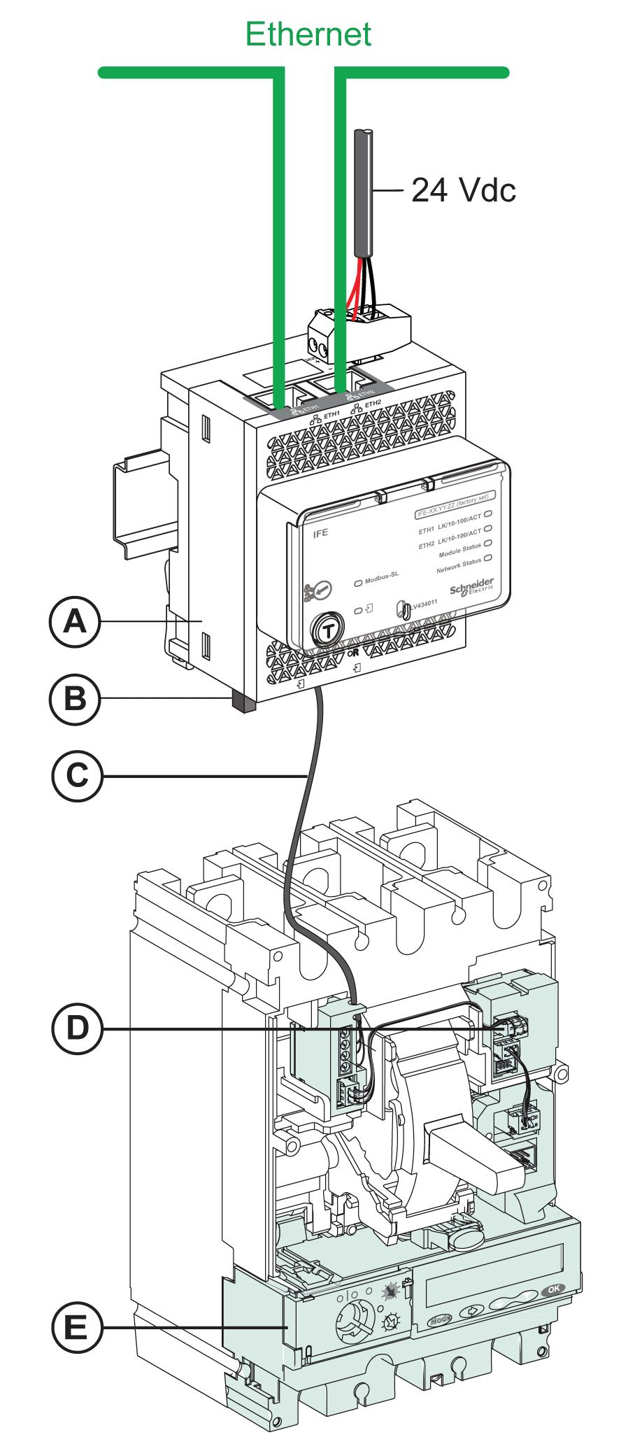 Ife Ethernet Interface For One Circuit Breaker User Guide Pdf Wire To Rs485 Schematic Presentation Connection Of The Bscm Module And Micrologic
