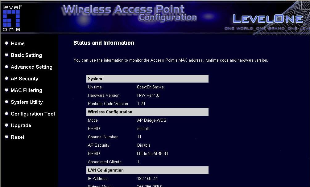 3.2.1 Status and Information On this screen, user can see the general information of the Access Point including Alias Name, Firmware Version, ESSID, Channel Number, Status, IP Address, MAC Address,