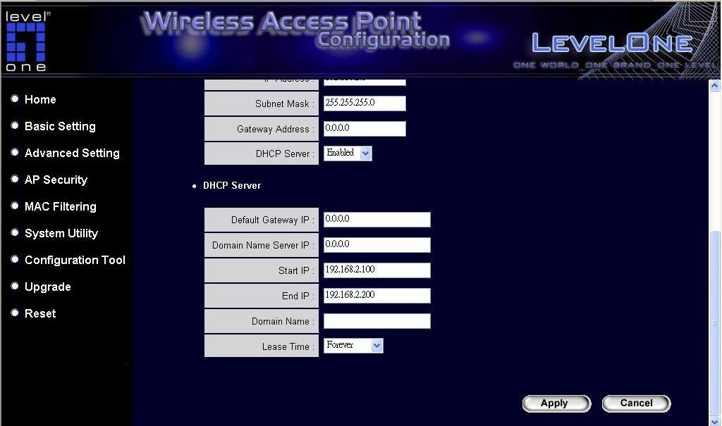 DHCP Server Setting DHCP Server will automatically give user s LAN client an IP address. If the DHCP is not enabled then user will have to manually set user s LAN client s IP address.