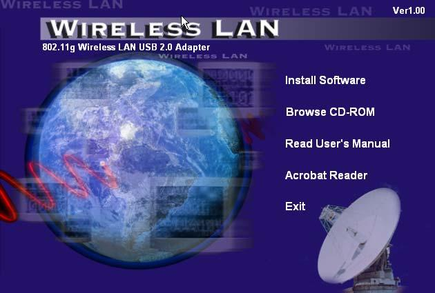 SOFTWARE INSTALLATION This section will lead you to install the driver and utility of the Thumb Size 802.11g Wireless LAN USB Adapter. Windows 98se/ME/2000/XP Utility and Driver Installation 1.