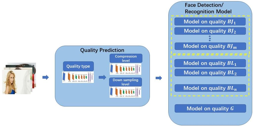 Fig. 3: Overall framework for quality level prediction and quality classified image face detection/recognition. layer after the second and fifth convolutional layers, respectively.
