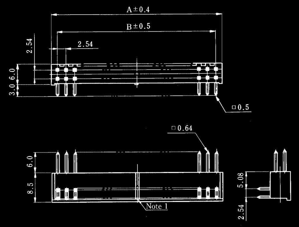 254mm Pitch High Density Connector Pdf 96 Crownline Wiring Diagram A1 Double Row Right Angle Type Bpcb Mounting Pattern 08