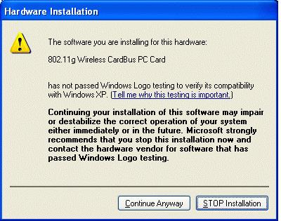 3. Click Continue Anyway. 4. Click Finish to complete the installation.