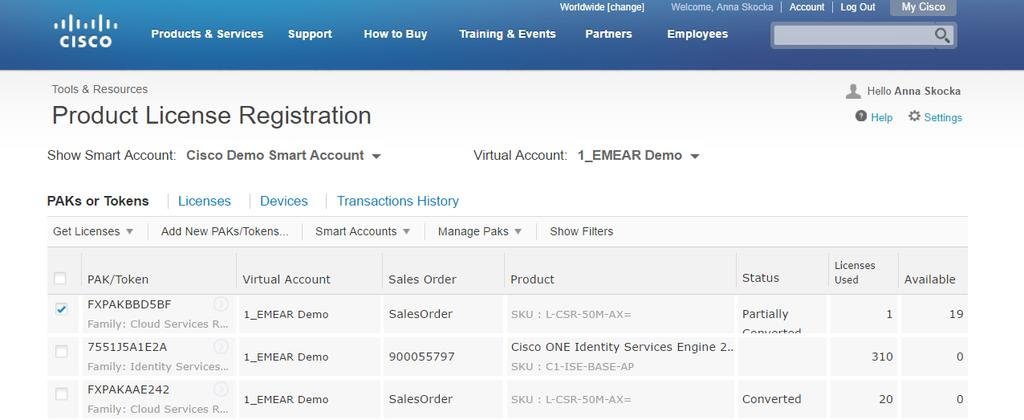 Cisco Software: Classic Licensing Management with Smart Accounts