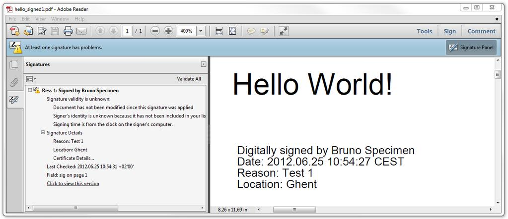 2.2 The Hello World of digital signing using itext Forget everything that was written in the first and second edition of itext in Action (Lowagie, 2011); forget all the code you wrote before