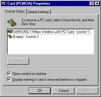 PC card status utility On our desktop at the bottom right hand side icons, we can find an icon for PC Card (PCMCIA) Properties.