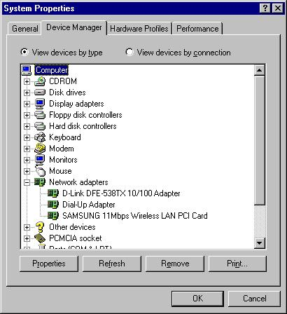Place the cursor at the SAMSUNG & click properties button to see the condition of the software driver used.