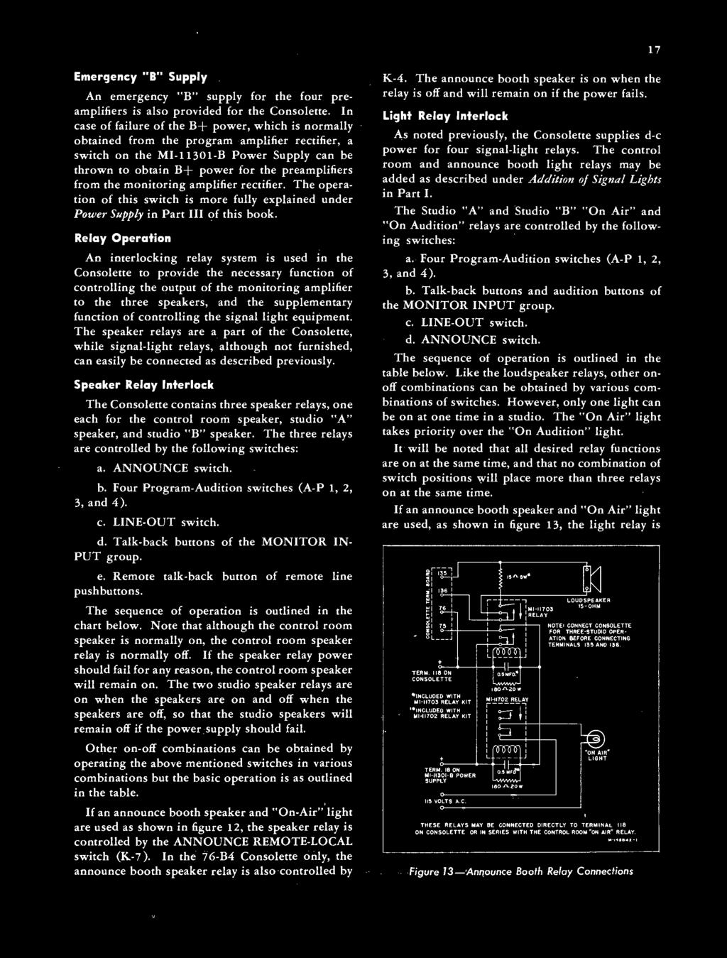 Rca Consolette Type 76 B2 Mi B B4 C Power Supply Relay Switch Speaker From The Monitoring Amplifier Rectifier Operation Of This Is More Fully Explained Under