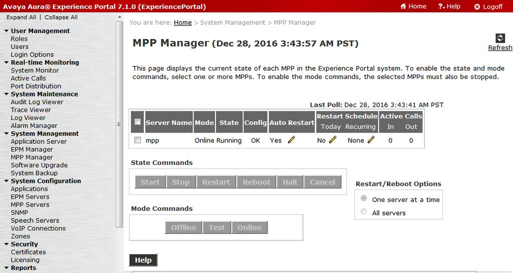 2. From the EPM web interface, verify that the MPP servers are online and running. On the left pane, navigate to System Management MPP Manager (not shown). 3.