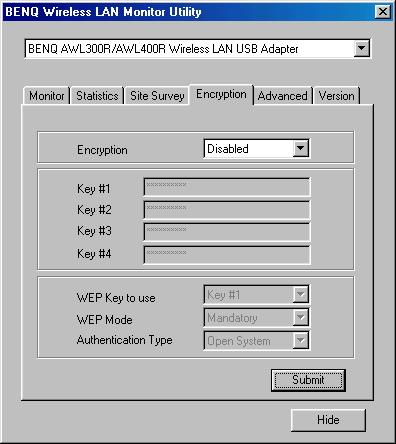 4.4 Encryption According to WEP function select, this panel allows the entry of 64-bit encryption and 128-bit key. Each key must consist of hex digits to be written to the driver and registry.