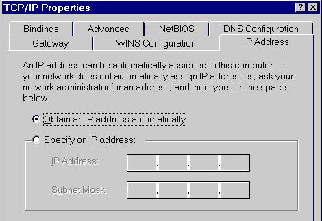 Appendix B - Troubleshooting Figure 68: IP Address (Win 95) Ensure your TCP/IP settings are correct, as follows: Using DHCP To use DHCP, select the radio button Obtain an IP Address automatically.