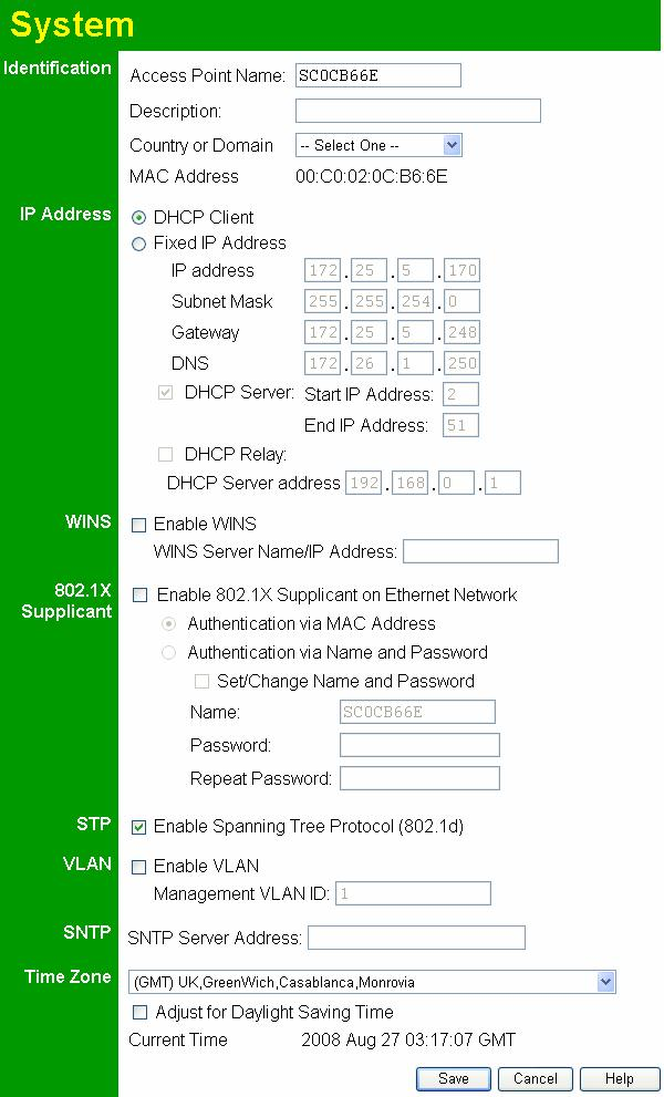 Wireless Access Point User Guide System Screen Click System on the