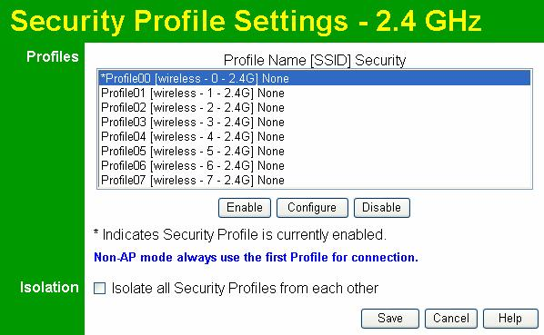 Wireless Access Point User Guide Data - Security Profiles Screen Profile Figure 20: Security Profiles Screen Profile List All available profiles are listed.