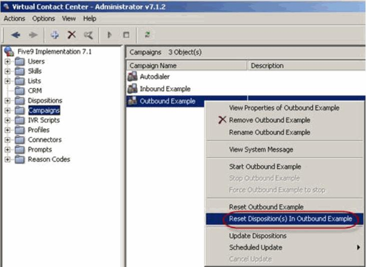 Configuring Dispositions You can also reset calls that were assigned a disposition by the system.