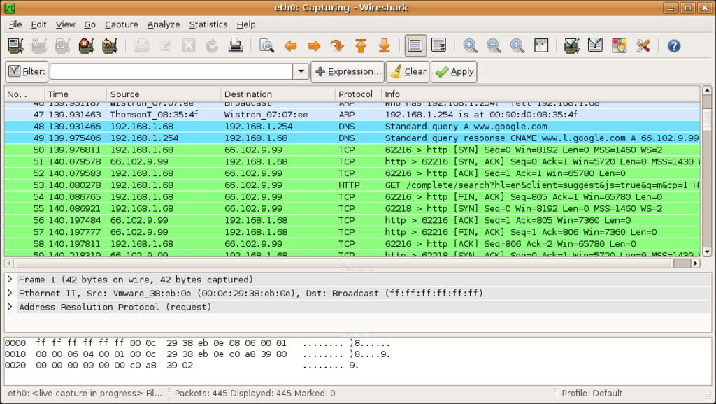 3.5 Wireshark Wireshark [12] is a free and open-source packet analyzer. It is used for network troubleshooting, analysis, software and communications protocol development, and education.
