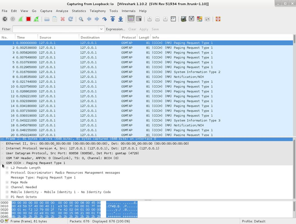 Figure 27. Decoded Packets in Wireshark Step 3:Search for an Immediate Assignment packet and take a closer look at the packet.