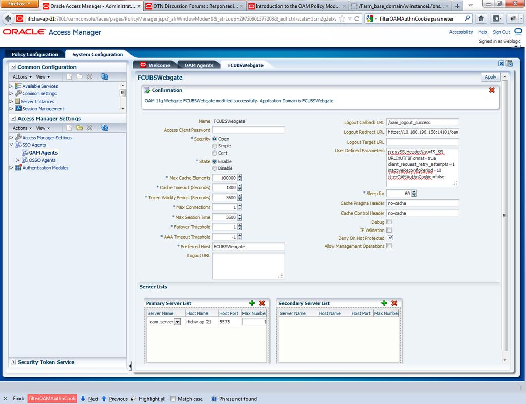 Oracle Access Manager Oracle FLEXCUBE Universal Banking Release [May