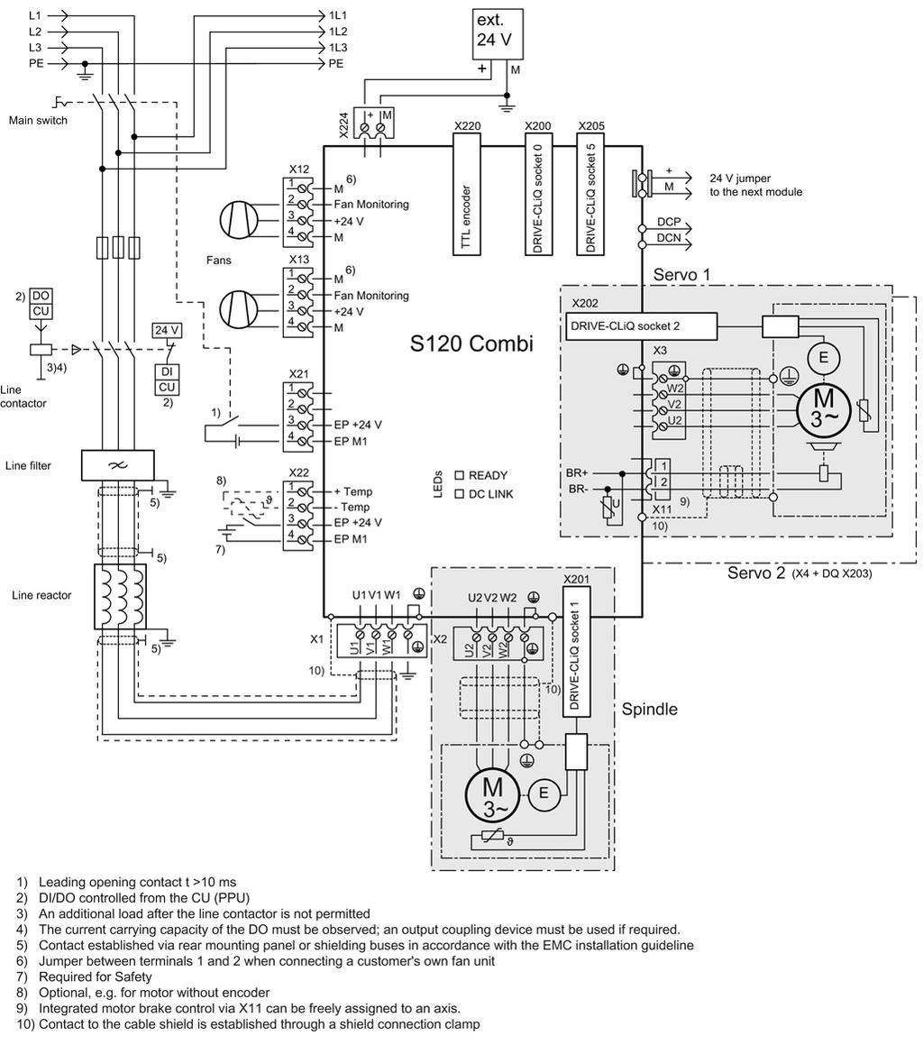 Sinamics S120 Combi Preface Animated 3phase Rcd Schematic Power Modules 44 Connection Examples 4