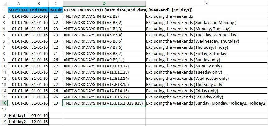 Excel formulas 140 excel formulas and functions with usage and this function will calculate the working days between two dates excluding weekends by default saturday ibookread Download