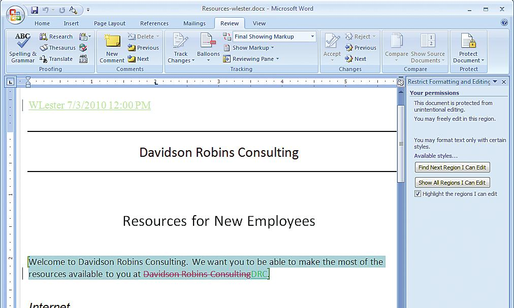 word document protect sections