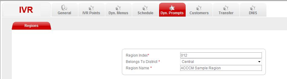 The region index is the ID, the IVR application must send to the ACCCM proxy to receive a list of Dynamic Prompts that are played to the customer. b.