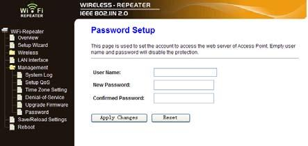 Change Management password Default password of Wireless Router is admin, and it s displayed on the login prompt when accessed from web browser.