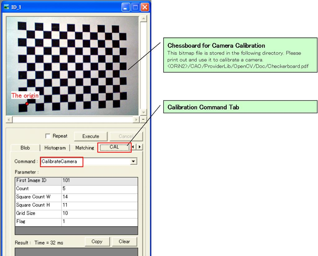 OpenCV Provider User s Guide - 15 - Figure 2-4 Calibration Dialogue There are two was to take 5 images a