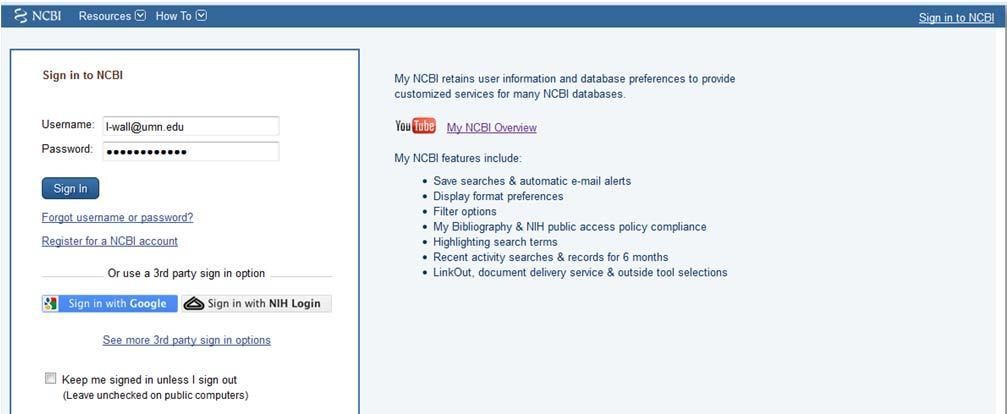 Using My NCBI and My Bibliography Tools to Complete the NIH