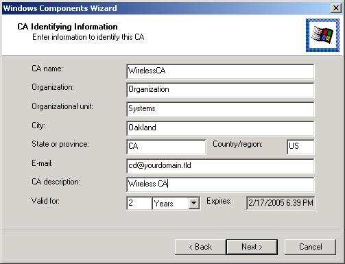 Click Next if you don't want to change the CA's configuration data. 8.