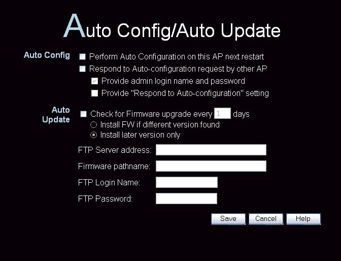 Wireless Access Point User Guide Auto Config/Update The Auto Config/Update screen provides two (2) features: Auto Config - The Access Point will configure itself by copying data from another