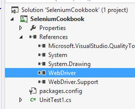 Expand the References tree for the SeleniumCookbook solution in Solution Explorer. References for WebDriver are added to the project as shown in the following screenshot: 9.
