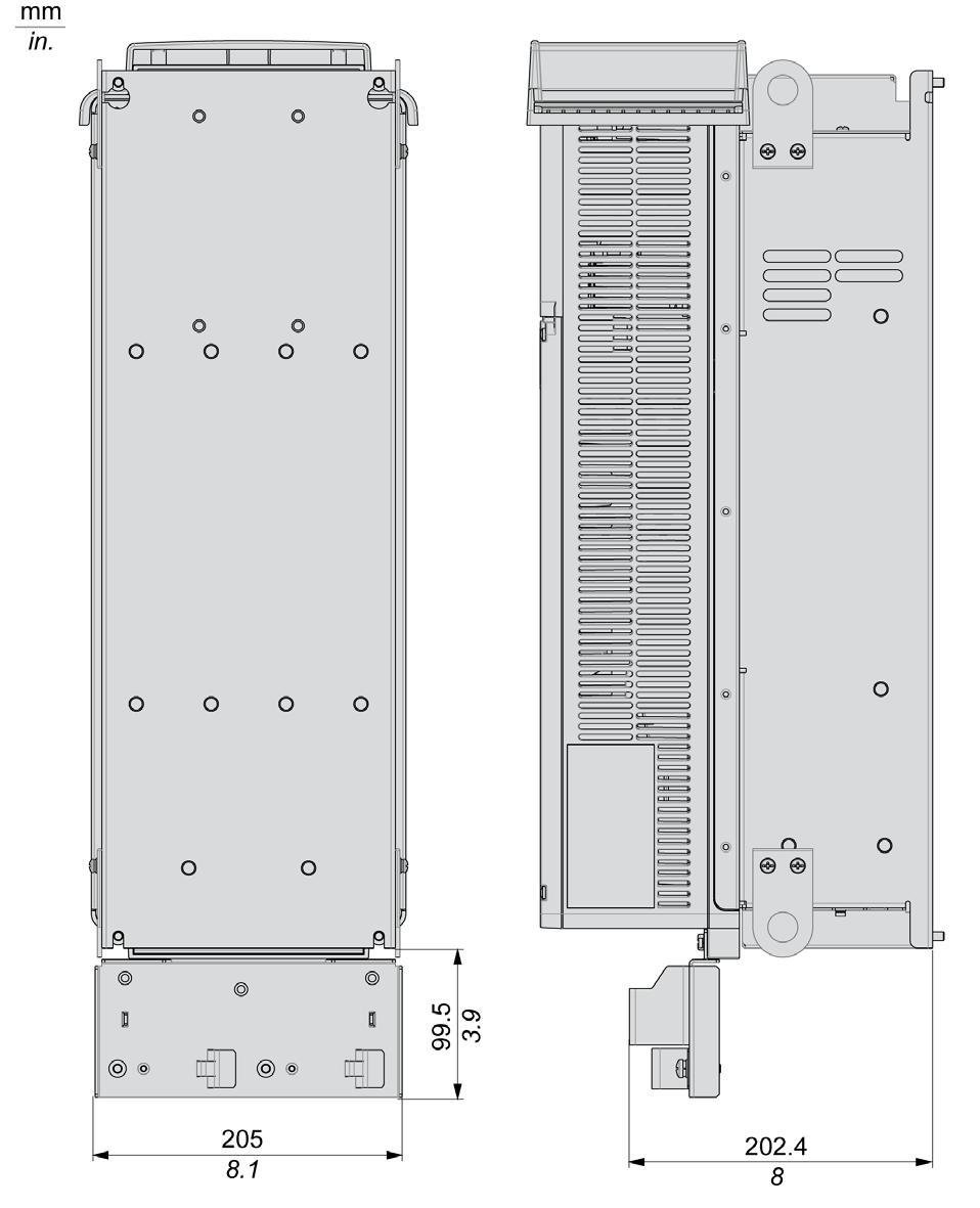 Altivar 610 Variable Speed Drives Pdf Ats22 Wiring Diagram Frame Size 4 Ip20 Rear And Side View With Top Cover