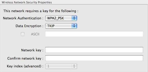 Network Authentication: Select WPA2_PSK from the drop-down list. Data Encryption: Select TKIP or AES from the drop-down list.
