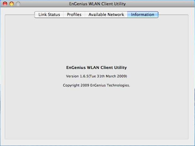 3.5. WLAN Client Utility - Information The Information tab