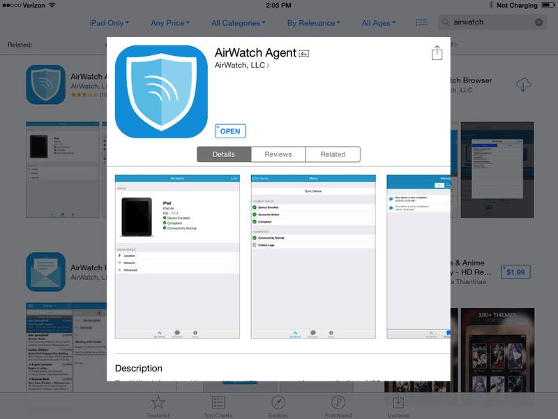 Download/Install AirWatch MDM Agent Application from App Store - IF NEEDED NOTE -Checked out devices will likely have the AirWatch MDM Agent already installed.