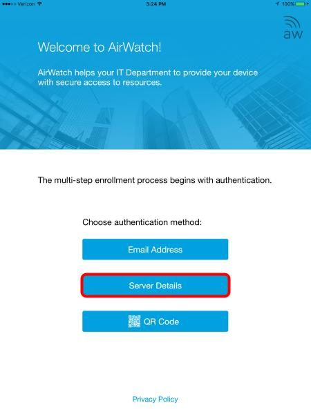Choose the Enrollment Method Click on the Server Details button. Attach the AirWatch MDM Agent to the HOL Sandbox Once the Agent has launched you can enroll the device.
