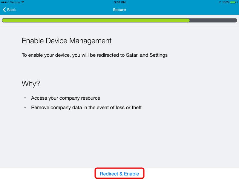 Redirect to Safari and Enable MDM Enrollment in Settings The AirWatch Agent will now redirect you to Safari and